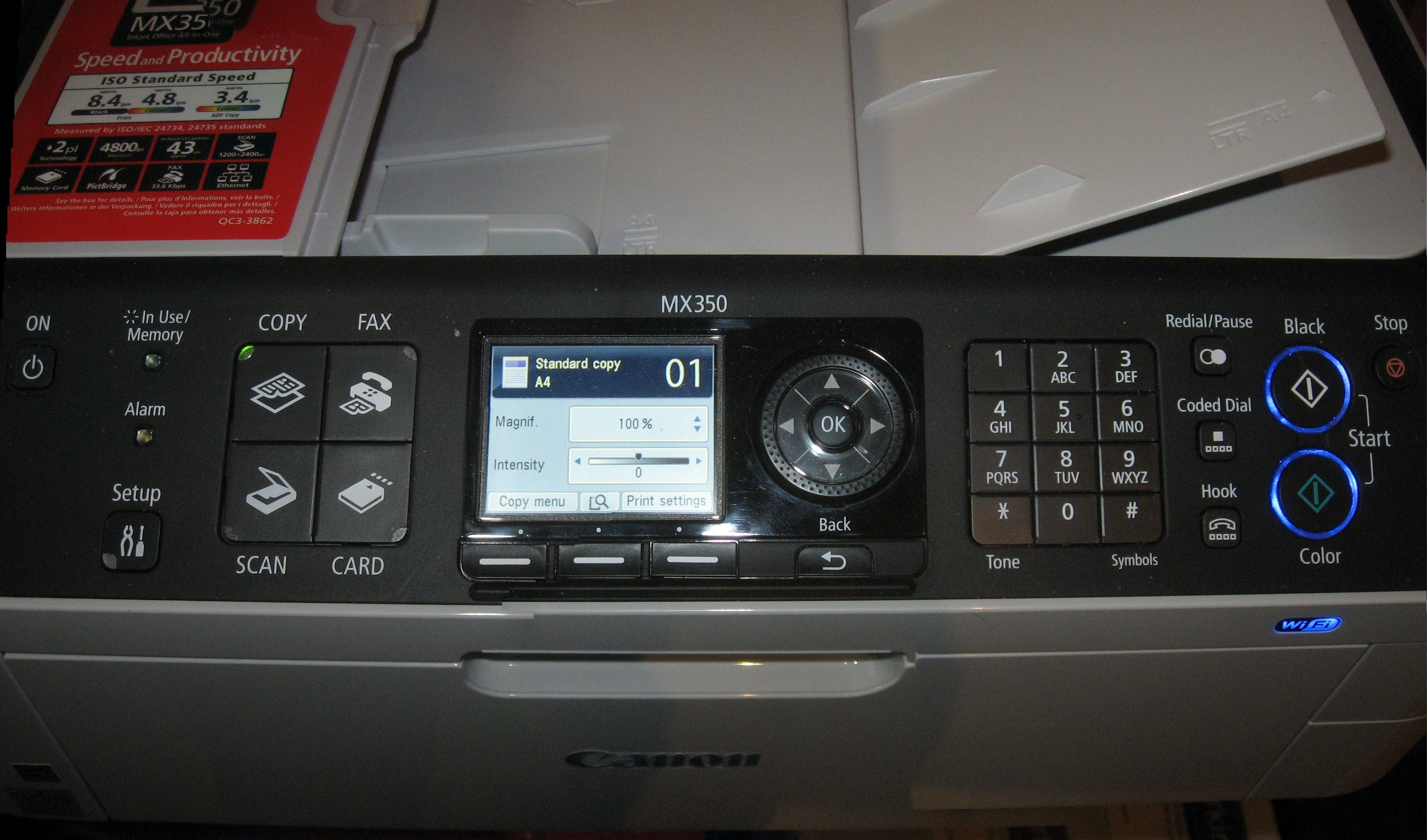 Canon PIXMA MX-350 control panel