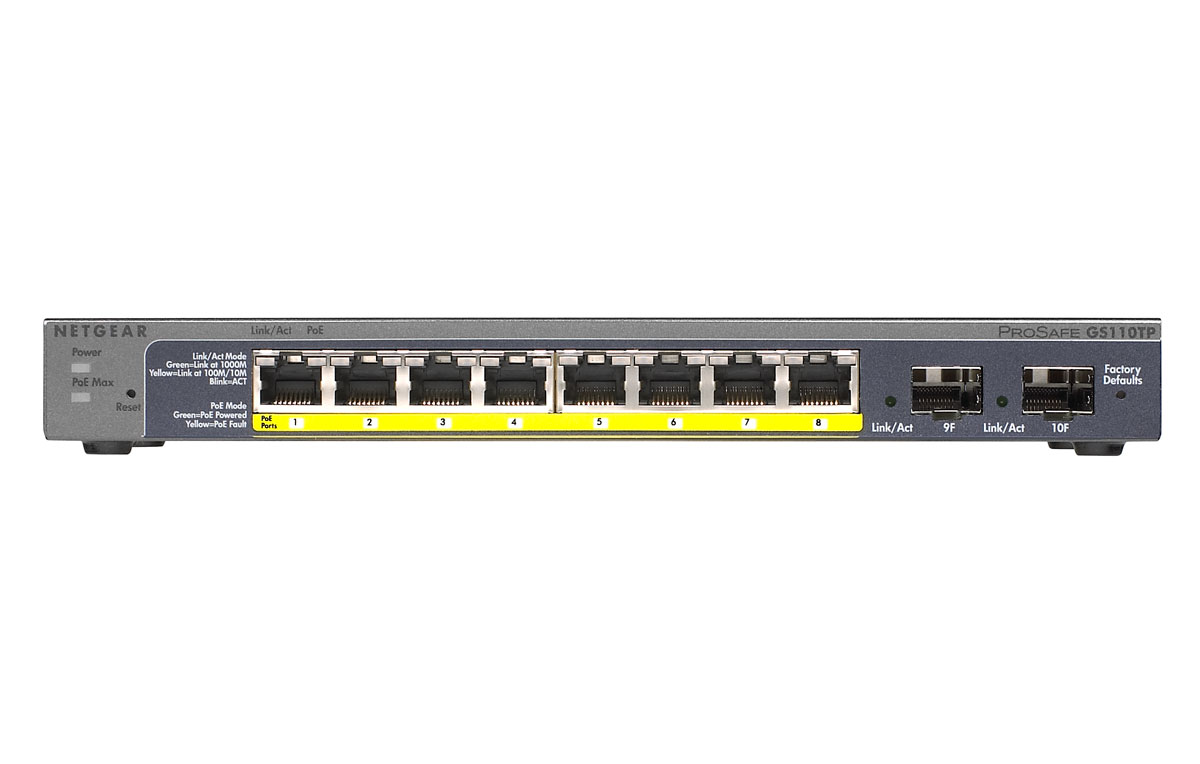 NETGEAR GS-110TP Gigabit PoE-supply Smart Switch