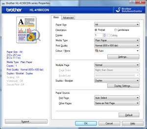 Brother HL-4150CDN Driver setup screen