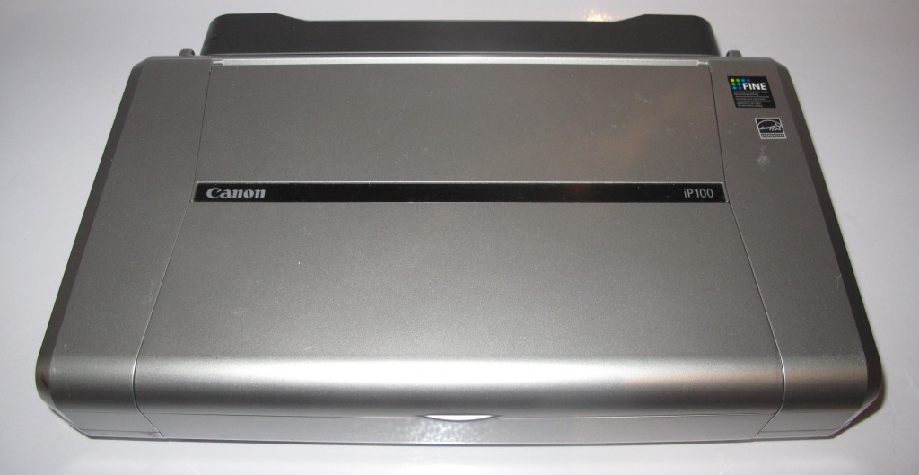 Canon PiXMA IP-100 mobile printer closed up