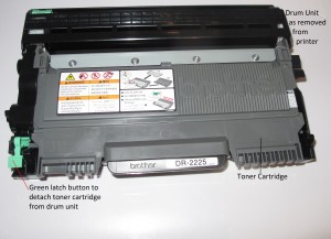 Brother HL-2240D laser printer - toner cartridge and drum unit as removed from printer