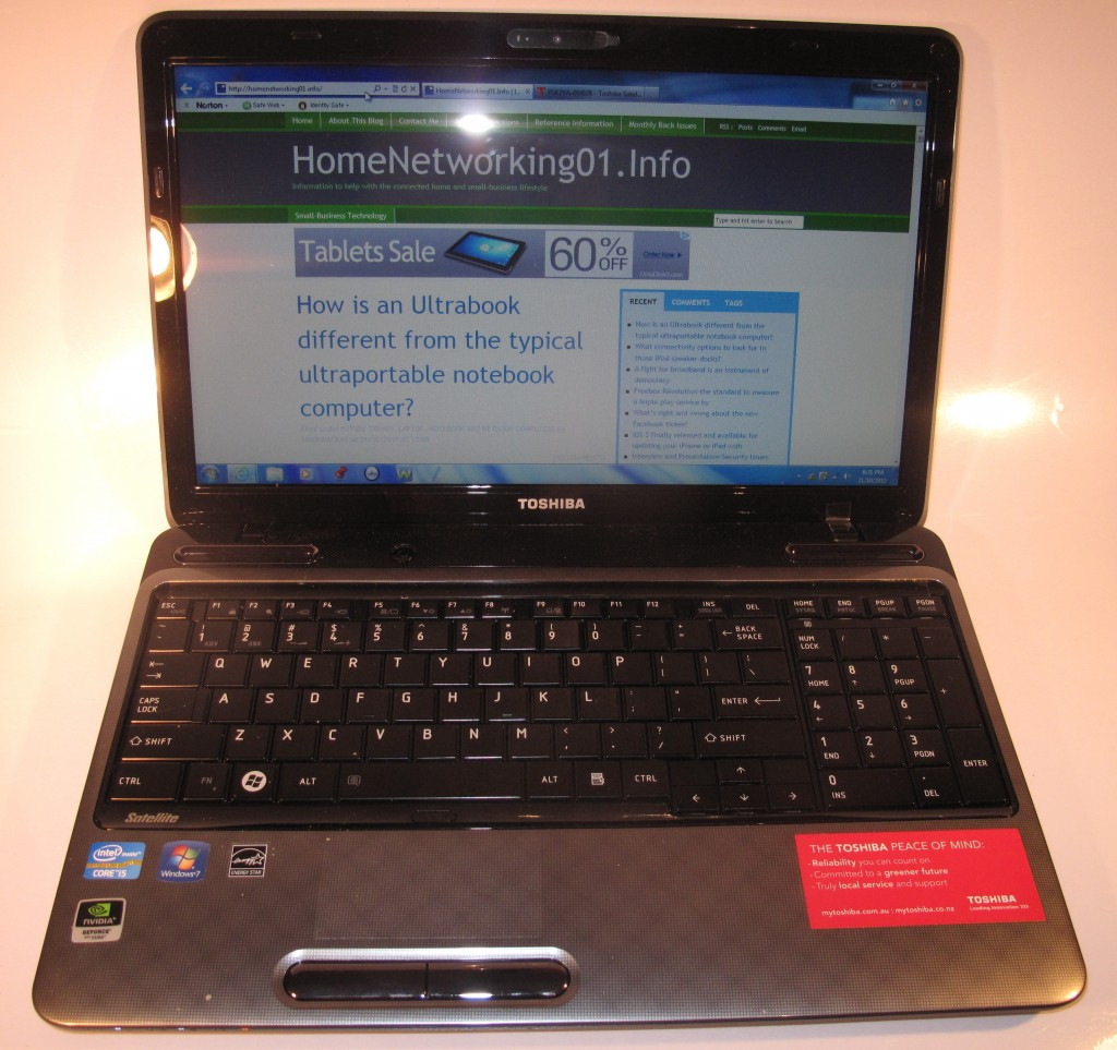 Toshiba Satellite L750 laptop computer