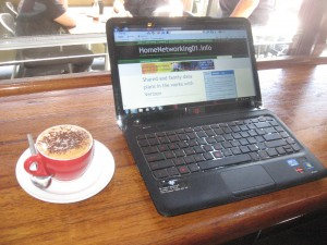 HP Pavilion dm4 BeatsAudio Edition laptop at a Wi-Fi hotspot