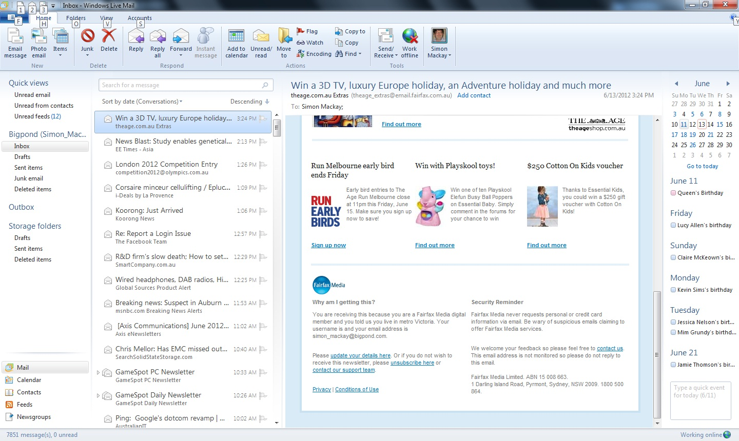 Windows Live Mail client-based email interface