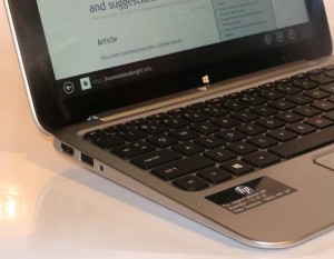 HP Envy X2 Hybrid Tablet left-hand side connections - HDMI, USB 2.0 and 3.5mm audio jack