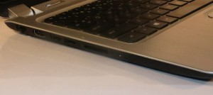 HP Envy 4 Touchsmart Ultrabook left-hand-side connections - Ethernet, HDMI, 2 USB 3.0, SD card reader