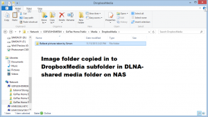 Dropbox folder copied to DLNA Media folder on NAS