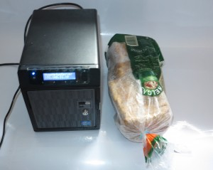 WD Sentinel DS 5100 Windows Server NAS alongside bread