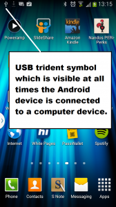 USB symbol that indicates that your Android device is connected to a computer device