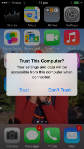 New iOS 7 dialog box that identifies if the other device is a computing device