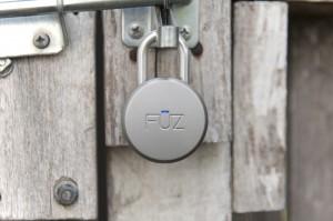 Noke Bluetooth padlock on gate - press image courtesy Fuz Designs