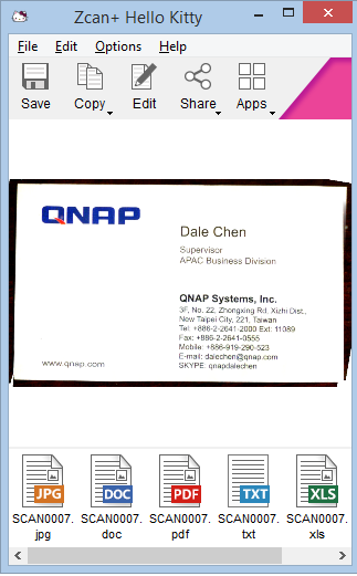 ZCan application with scanned business card