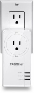 TRENDNet TPL-421E2K HomePlug AV2 MIMO adaptor (US variant) with AC socket plugged in to typical US AC outlet - press picture courtesy of TRENDNet USA