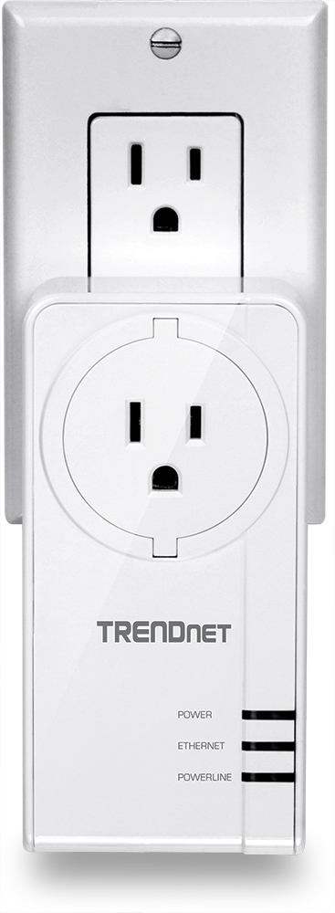 TRENDNet TPL-421E2K HomePlug AV2 MIMO adaptor (US variant) with AC socket