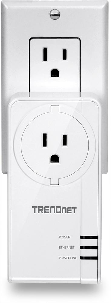 TRENDNet TPL-421E2K HomePlug AV2 MIMO adaptor (US variant) with AC socket