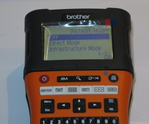 Brother PT-E550WVP label writer network operation menu screenshot