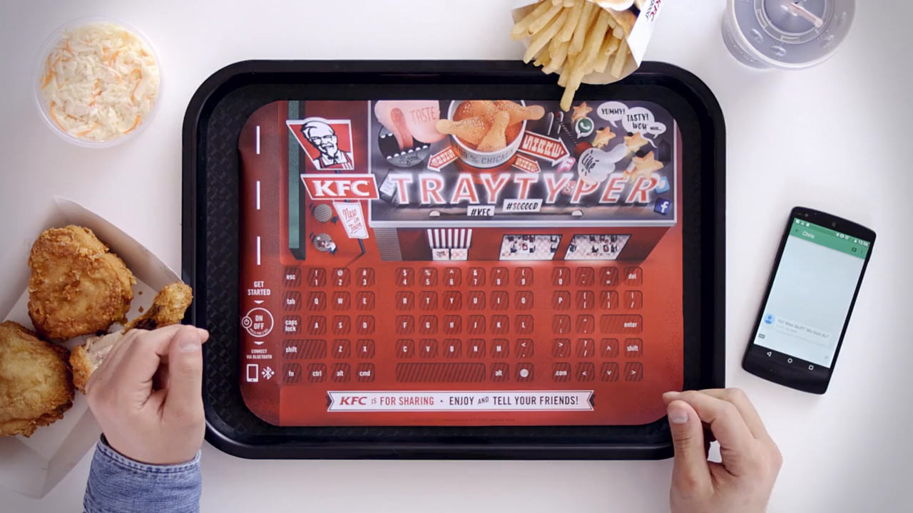 KFC puts forward the idea of a flexible Bluetooth keyboard as a tray-mat