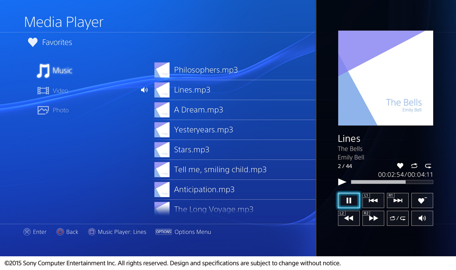 Sony PS4 Media Player media list screenshot courtesy of Sony Computer Entertainment