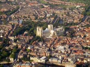 York UK aerial view courtesy of DACP [CC BY-SA 2.0 (http://creativecommons.org/licenses/by-sa/2.0)], via Wikimedia Commons