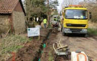 Fibre optic cable trench in village lane - press picture courtesy of Gigaclear