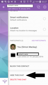 Viber - Hide This Chat