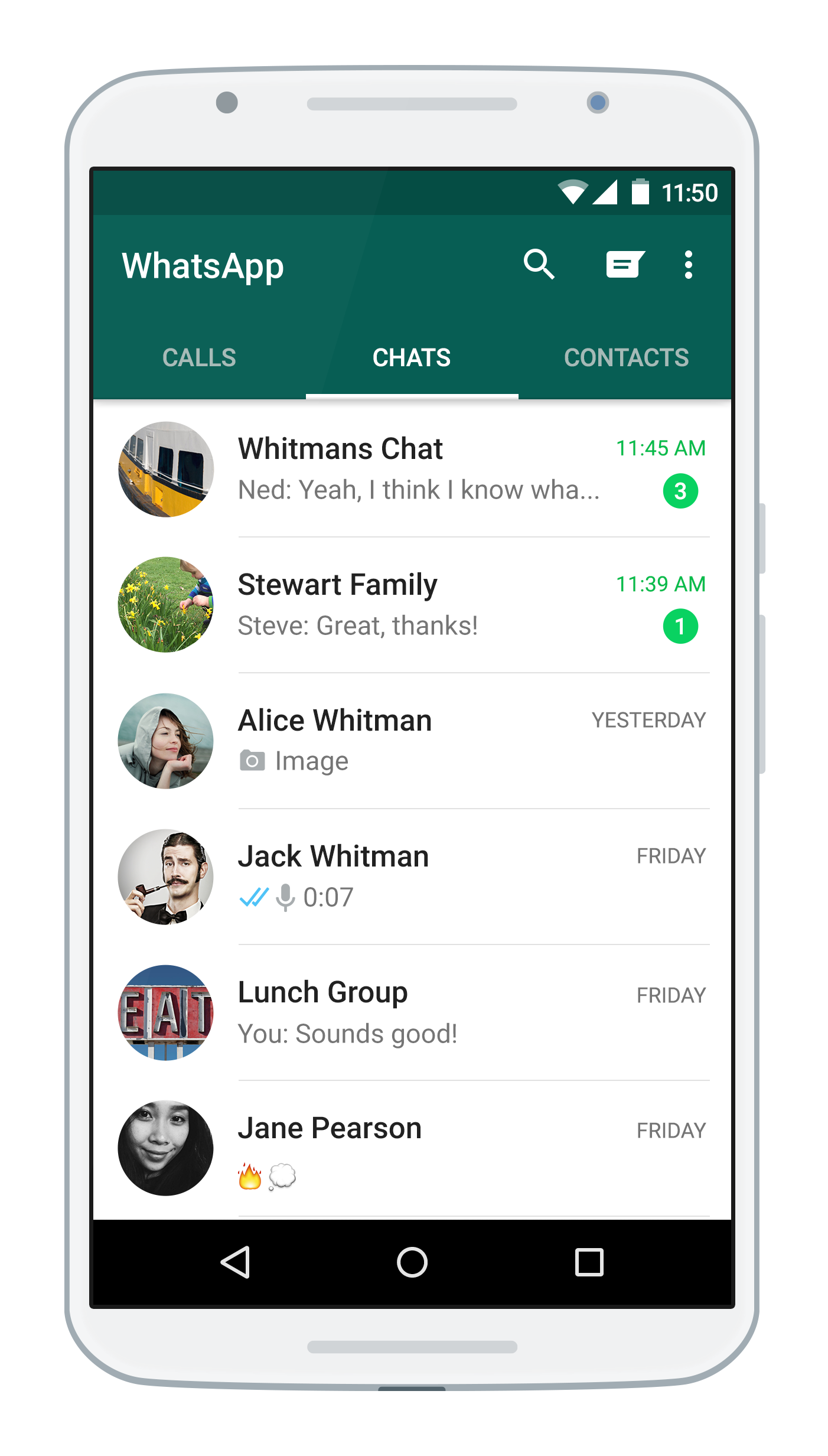 WhatsApp Android screenshot courtesy of WhatsApp