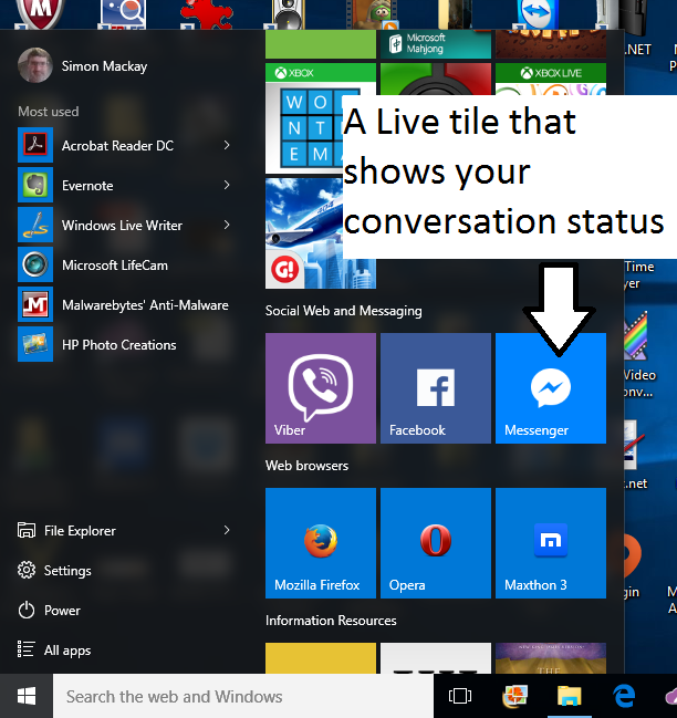 Facebook Messenger Windows 10 live tile