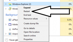 Task Manager - Context menu with Restart called out