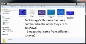 Windows folder with pictures in numerical sequence