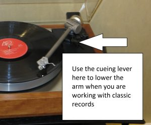 Use your turntable's cueing lever or button to lower the arm when you start playing that record
