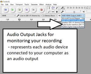 Audacity - audio outputs