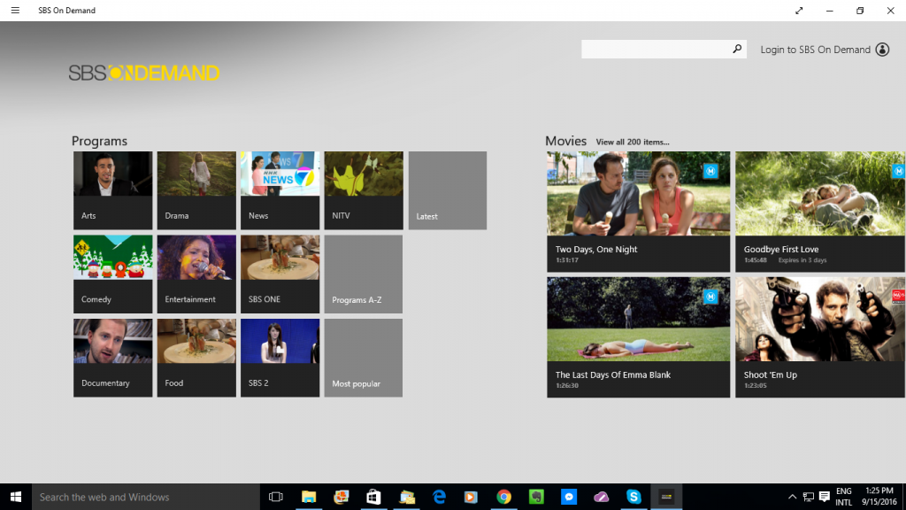 SBS On Demand Windows 10 platform app