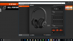 SteelSeries Engine 3 configuration screen for Dell AE3 Performance USB headset