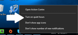 Quiet Hours option - a right click away - Windows 10