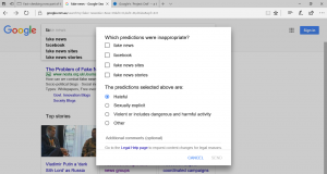 Reporting autocomplete suggestions in Google Search Web user experience