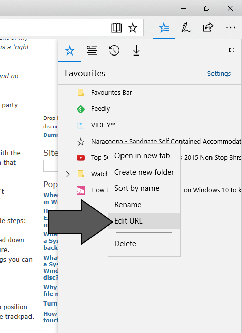 Edit URL item in Favourites context menu