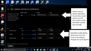 Windows - System - Sound menu for app-based audio device selection