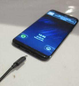 USB-C connector on Samsung Galaxy S8 Plus smartphone