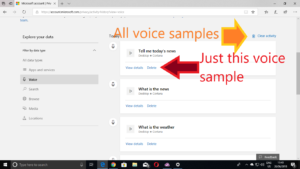 Details of your voice interactions with Cortana