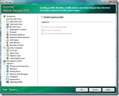 Kaspersky - Gaming profile
