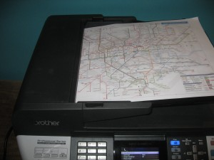A3 map on automatic document feeder