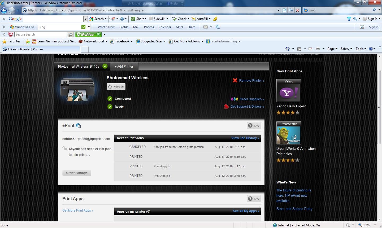 HP ePrintCenter Web page