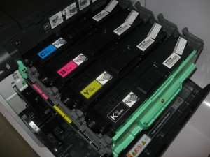 "Toner cartridges on drum-unit ""drawer"""