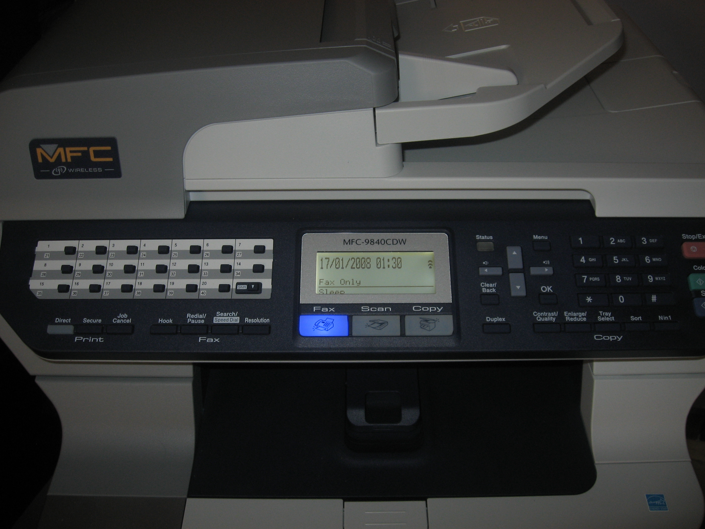 Brother MFC-9840CDW control panel with LCD lit
