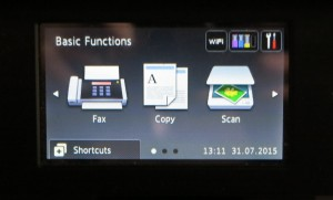 Main menu on Brother MFC0J5720DW printer