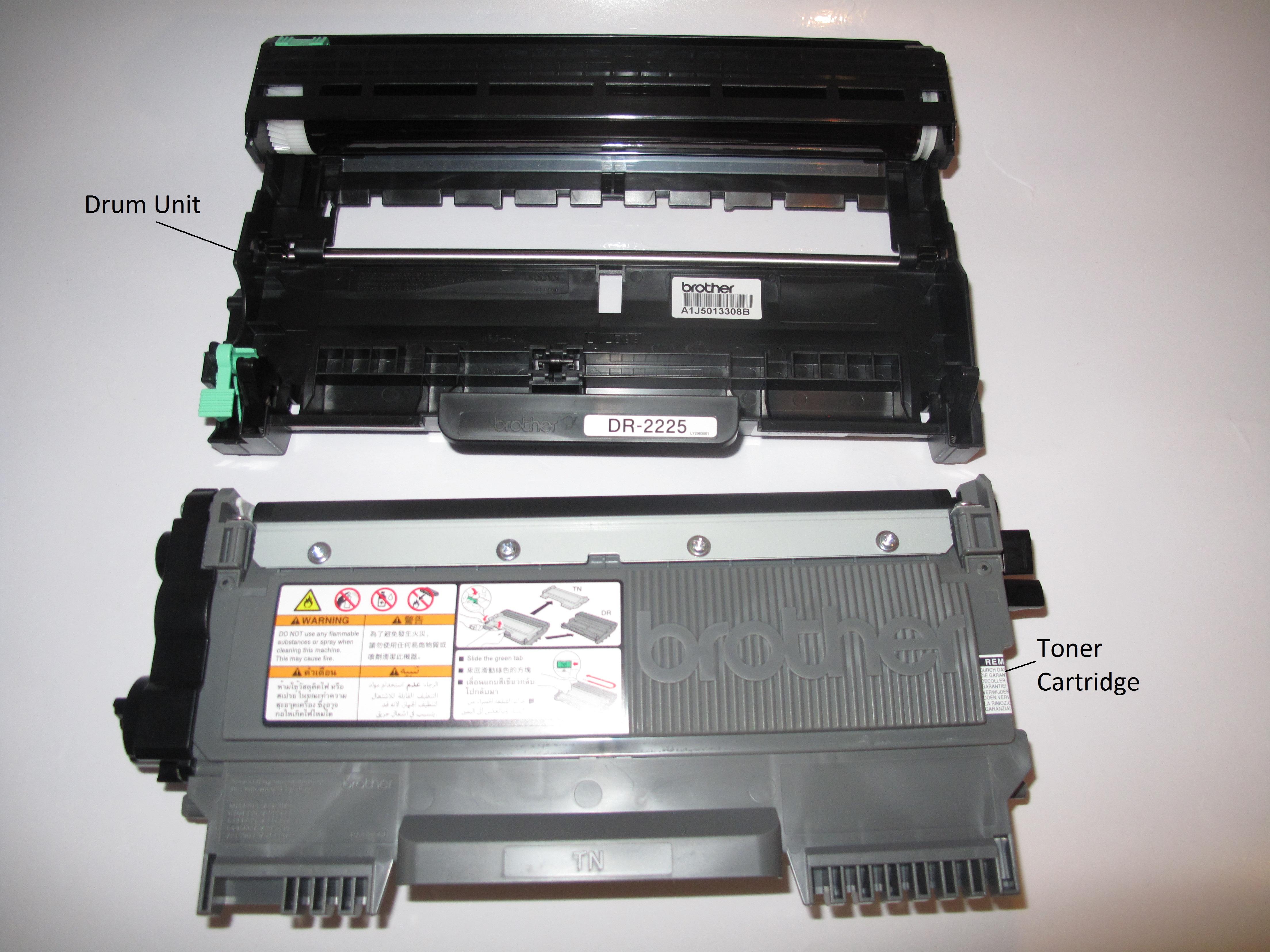Brother HL-2240D Compact Laser Printer - Toner Cartridge and Drum Unit separate