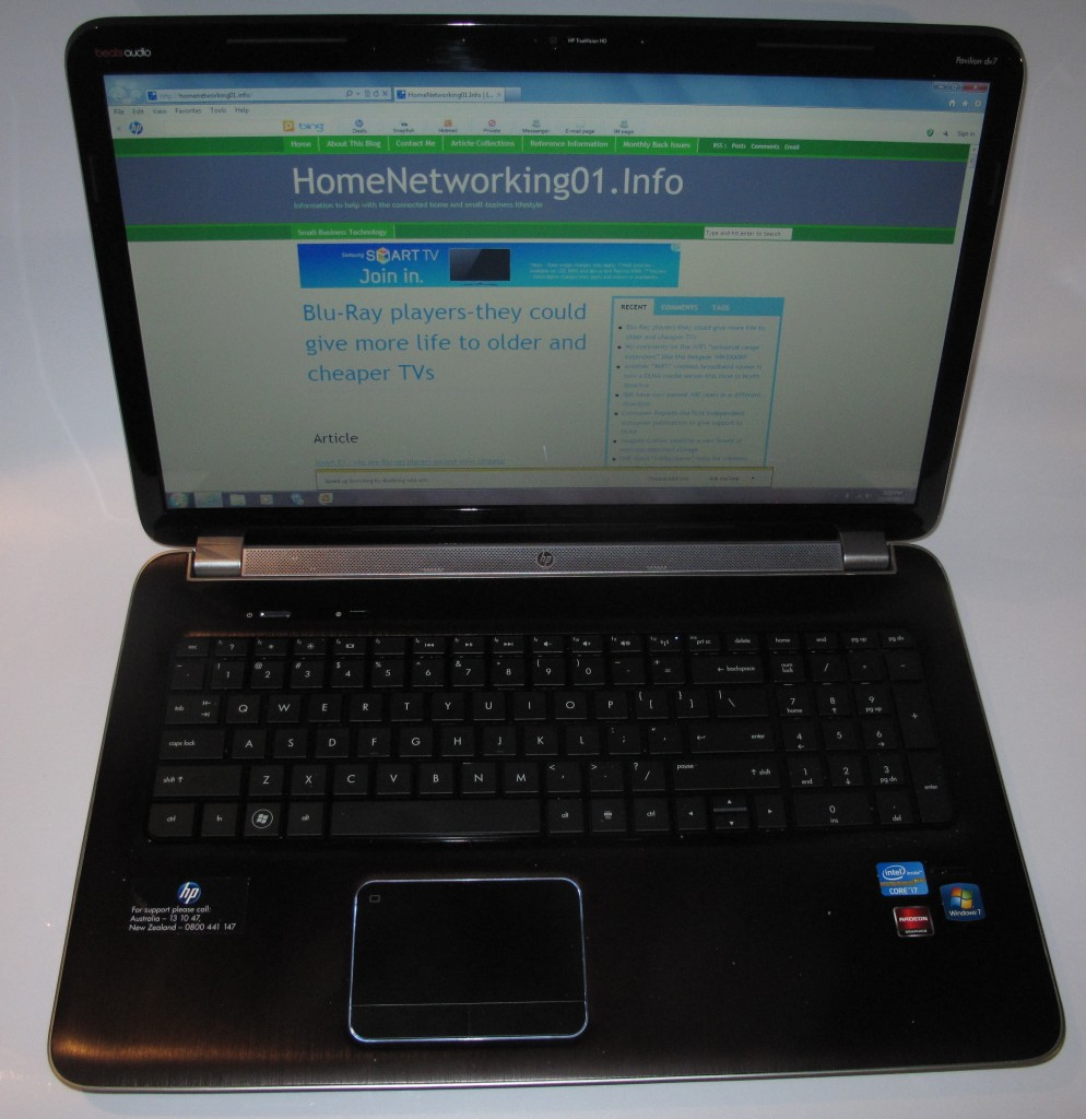HP Pavillion dv7-6013TX laptop - keyboard highlighted