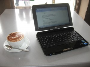Fujitsu Lifebook TH550M convertible notebook at a Wi-Fi hotspot