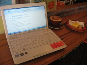 Toshiba Satellite L730 ultraportable on coffee bar