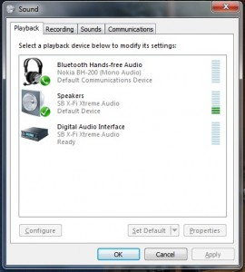 Playback Devices list in Windows 7